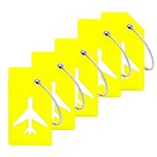 5Pack Silicone Luggage Tag With Name ID Card Perfect to Quic