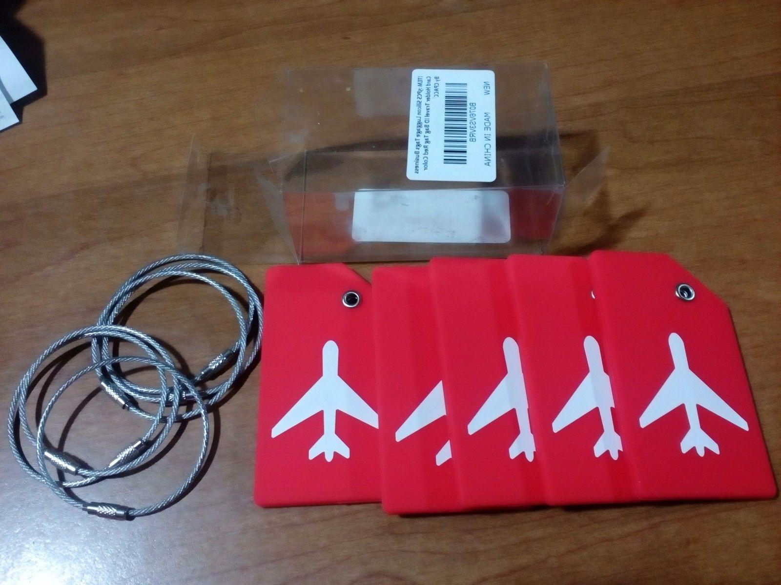 5PCS Silicon Luggage Tags Business Card Holder Travel ID Bag