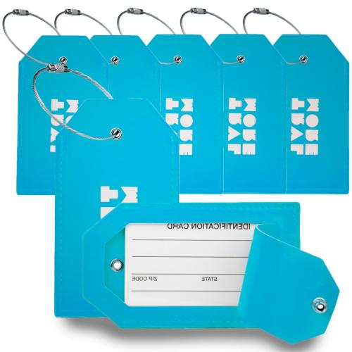 7 pack pu leather luggage tags