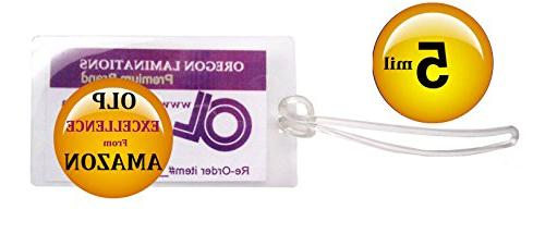 Qty 500 of each, Luggage Tags Laminating Pouches with Plasti