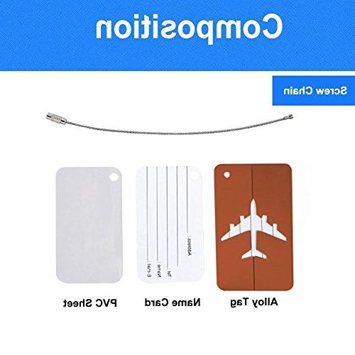 Set of Tags Labels, Aluminum Airplane Bag Baggage ID Name Tag with Screw Chain,