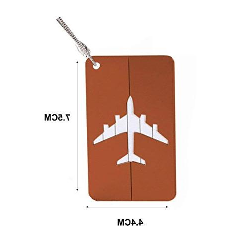 Set 2 Luggage Tags Airplane Travel Suitcase Bag Baggage ID Tag Chain, Coffee