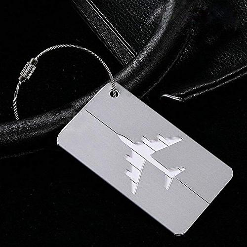 Set of Tags Aluminum Airplane Travel Suitcase Baggage Tag with Screw Chain,