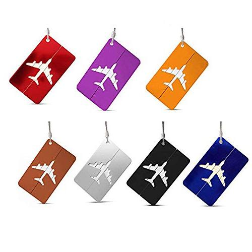 Set of 7 Aluminum Metal Travel Suitcase Luggage Tags Labels