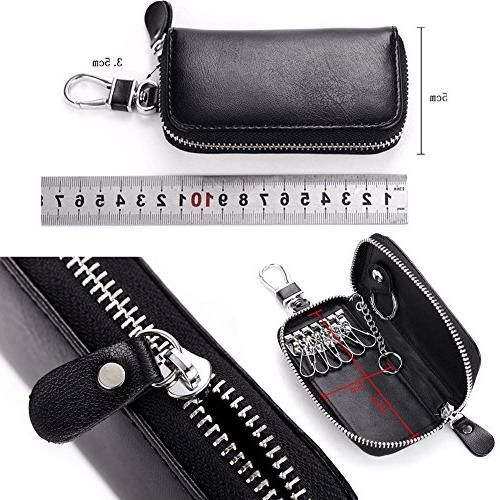 Unisex Mens Womens Premium Leather Bag Keychain Case Wallet with Zipper Closure,