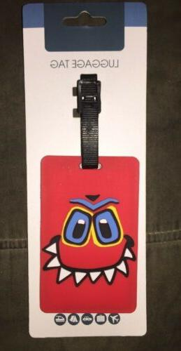 brand new kids red monster luggage tag