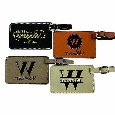 Custom Leather Luggage Tags - Engraved Monogrammed Personali
