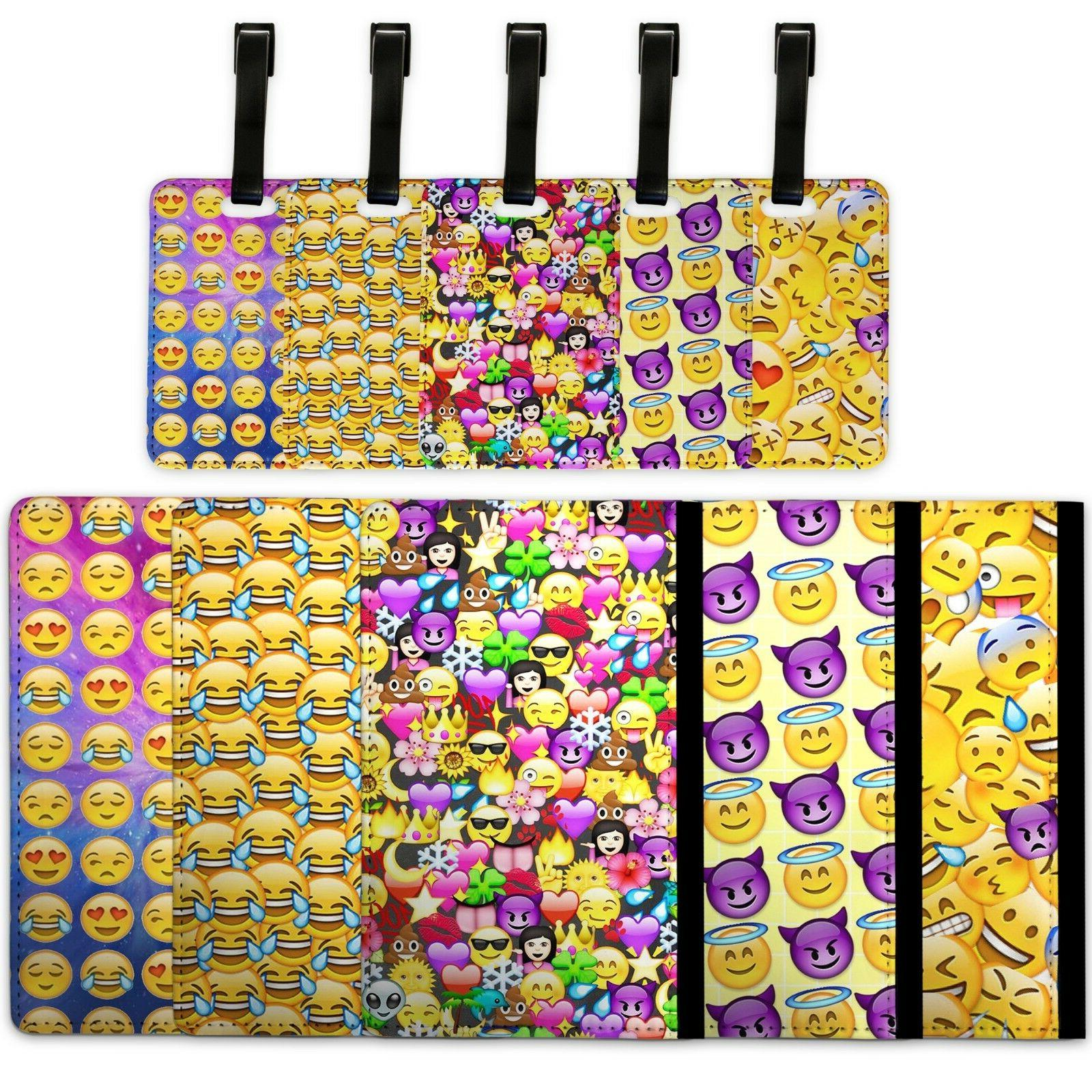 Emoji Pattern Emojicon - Passport Cover & Luggage Tag Travel