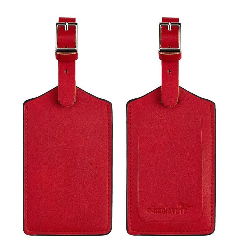 genuine leather luggage bag tags red 2282