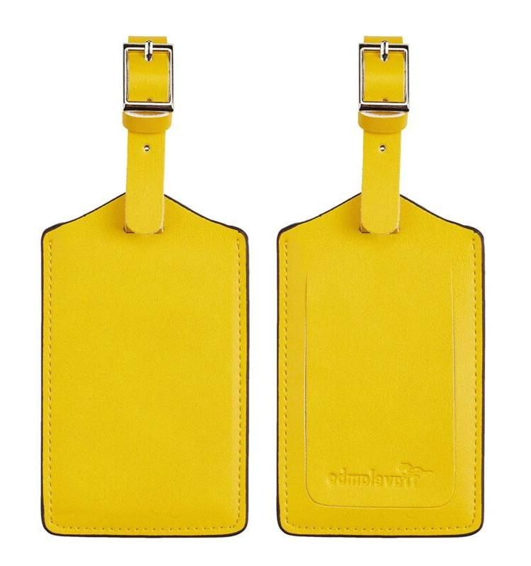 genuine leather luggage bag tags yellow 3168