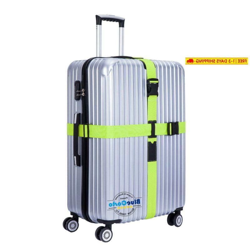 green heavy duty cross luggage strap suitcase