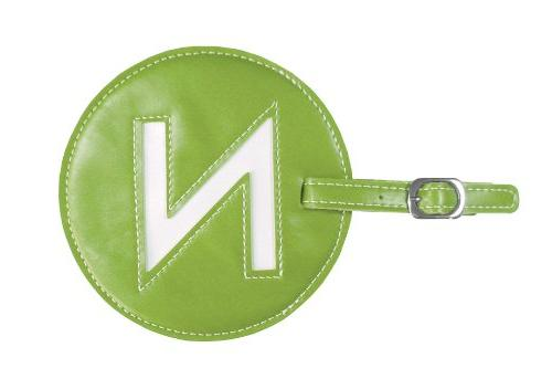 initial luggage tag green