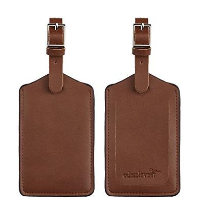 leather luggage bag tags classic brown