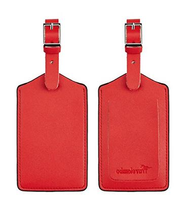 leather luggage bag tags classic red