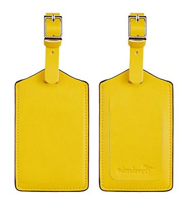 leather luggage bag tags energetic yellow