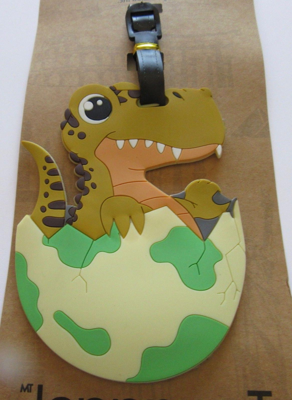luggage tag baby dinosaur in egg hatching
