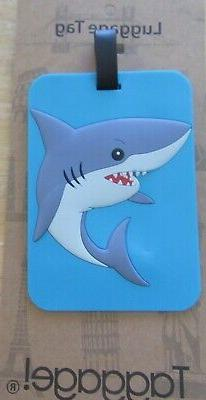 Luggage Tag- SHARK gray blue red rectangular  use for kids &