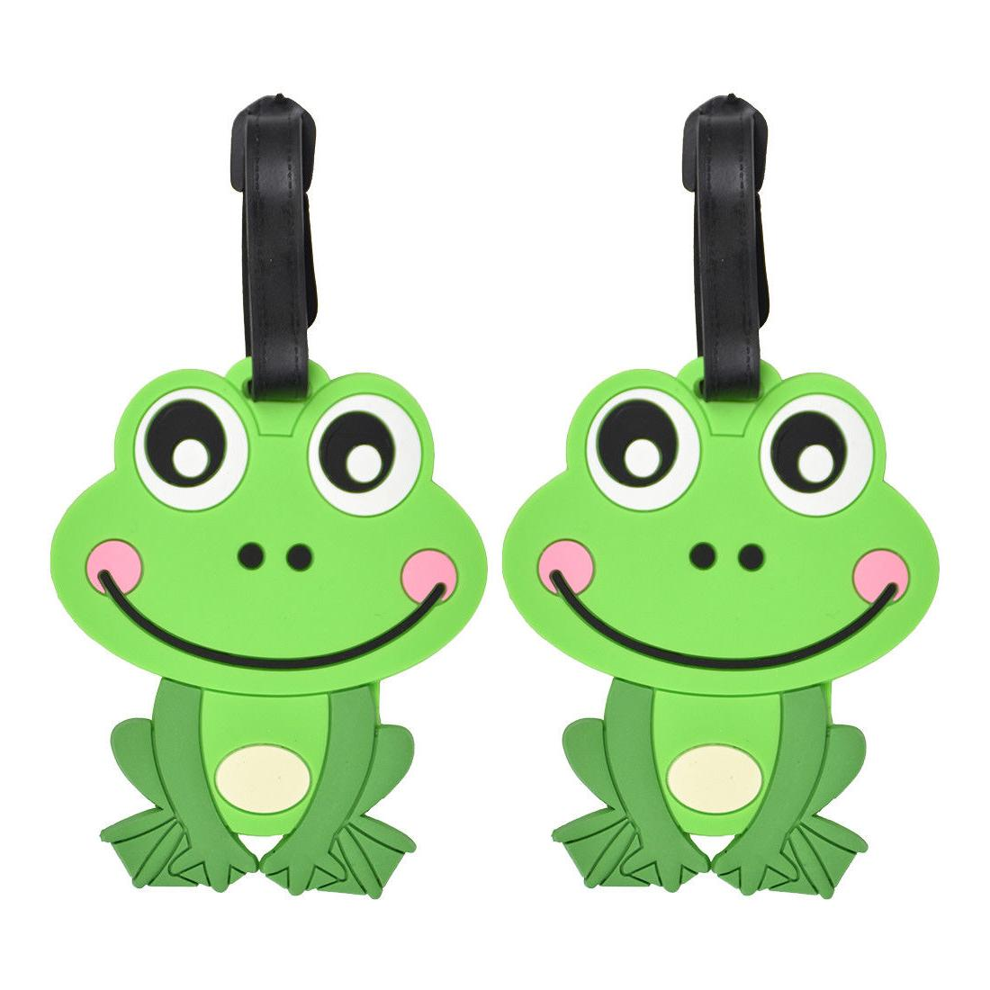 luggage tag silicone green frog kids travel