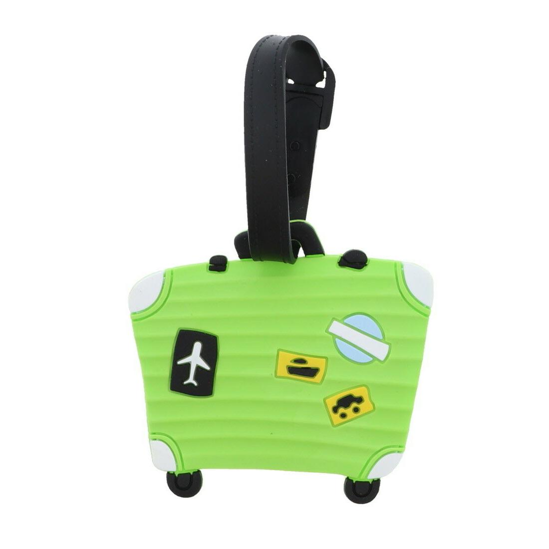 Luggage Tag Silicone Green Suitcase Duffel Tags 4 Tags