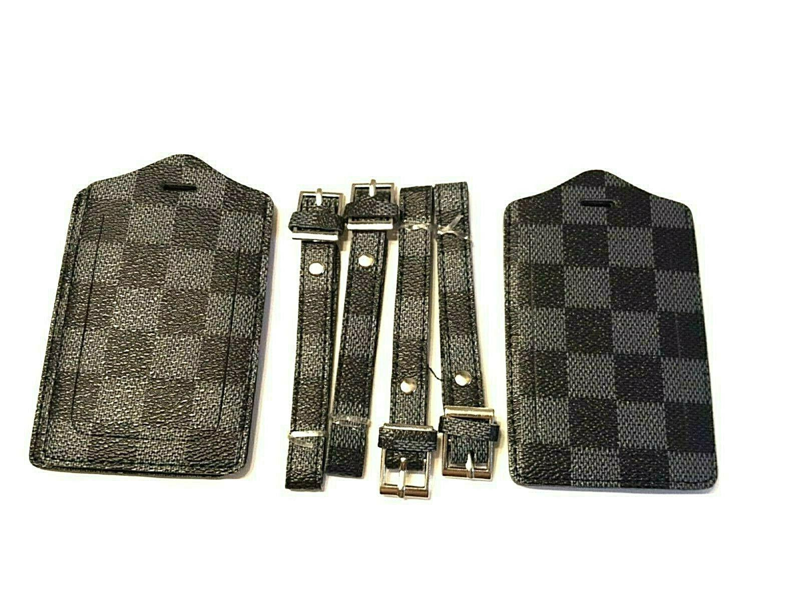 luggage tags 4 pack gray checkerboard vegan