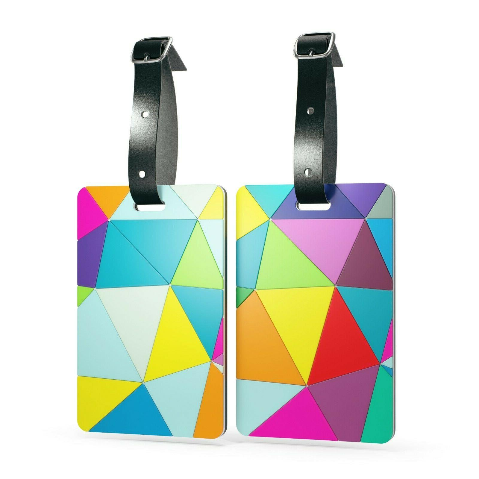 luggage tags with genuine leather strap set