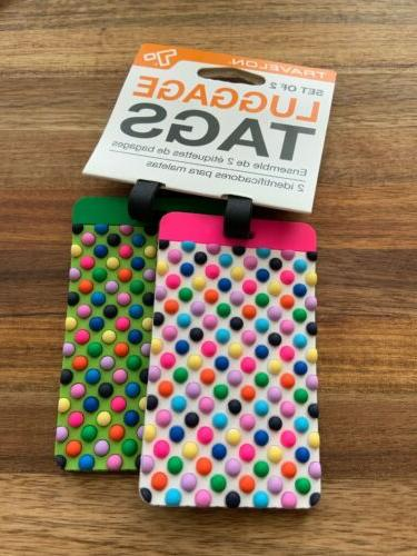 multicolor dots luggage tags set of 2