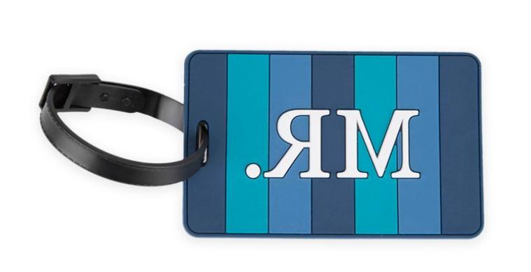 new mr luggage tag in blue