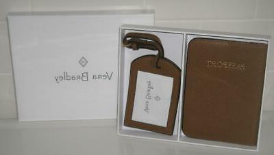 passport cover and luggage tag in cognac