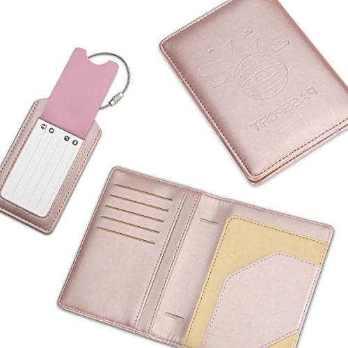 COCASES Passport Holder Protection PU Slots Holder Two Luggage Tags Set