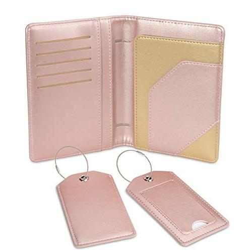 COCASES Passport Holder RFID Protection Leather Slots Holder Two Luggage Tags