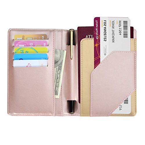 COCASES Passport Holder Protection PU Slots Pen Holder Two Matching Luggage Set
