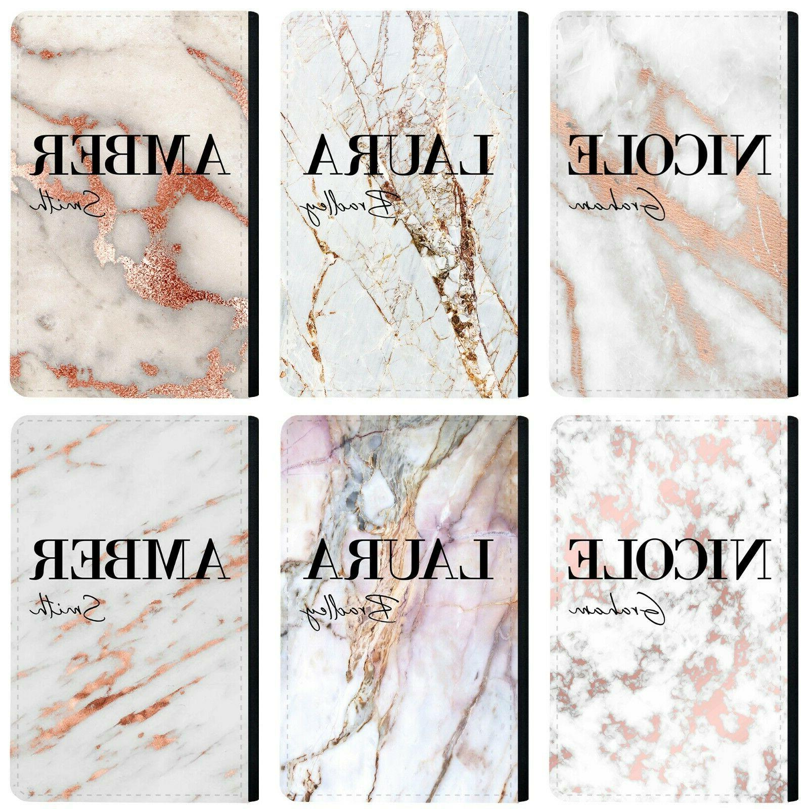personalised name initials marble passport holder cover