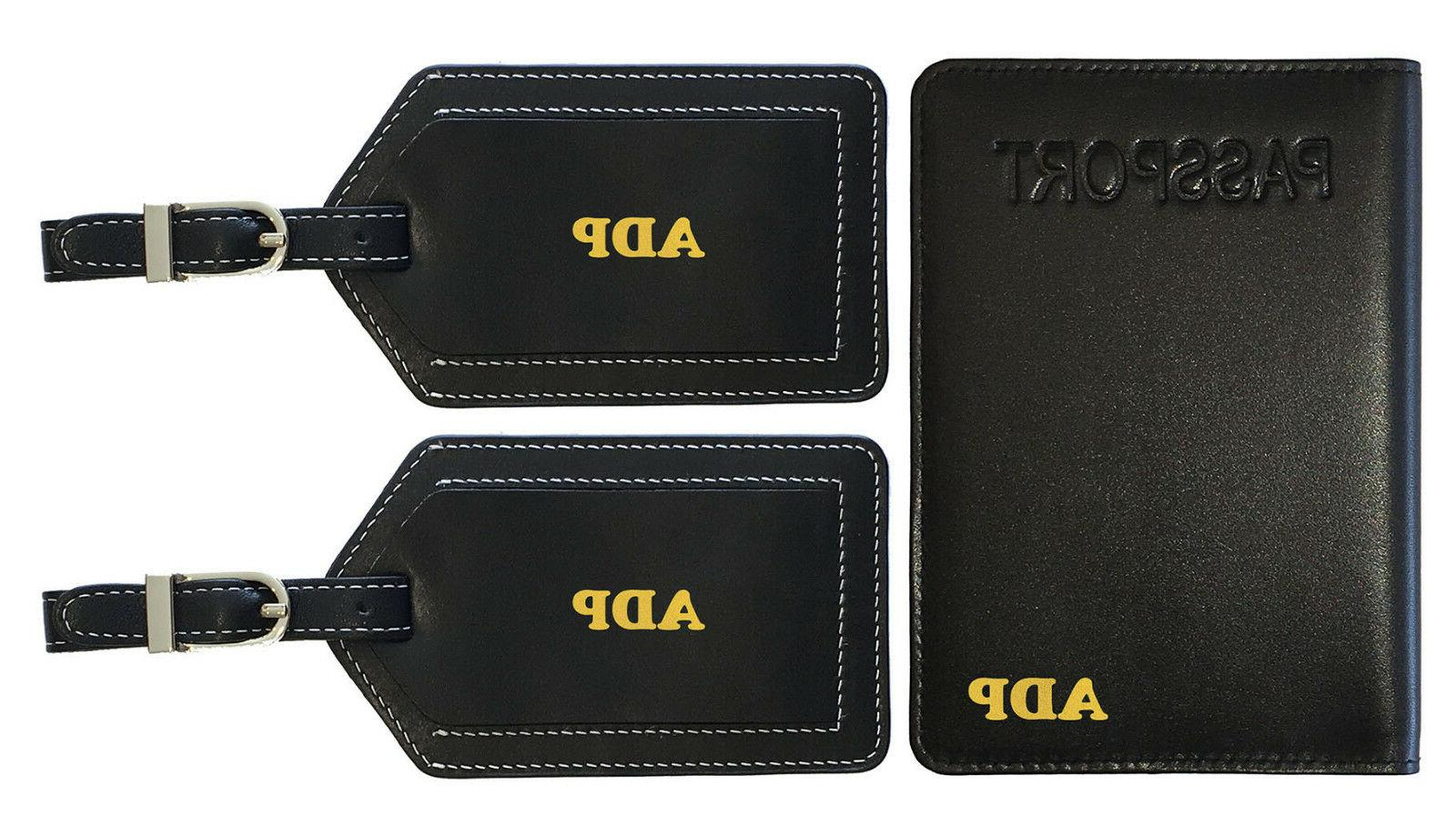 517926a43c65 Personalized Monogrammed Leather RFID Passport Holder Cover and 2 Luggage  Tags