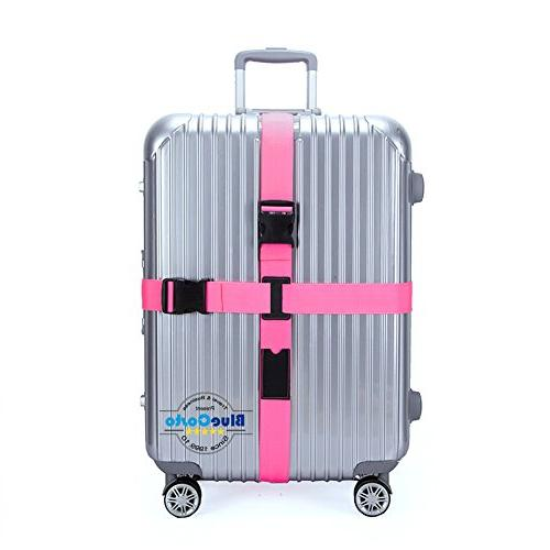 pink adjustable luggage straps suitcase travel accessories
