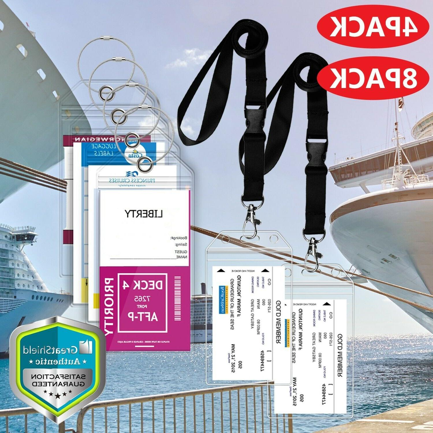Premium Cruise Luggage Tag Holder w/ Zip Seal Vinyl Steel Lo