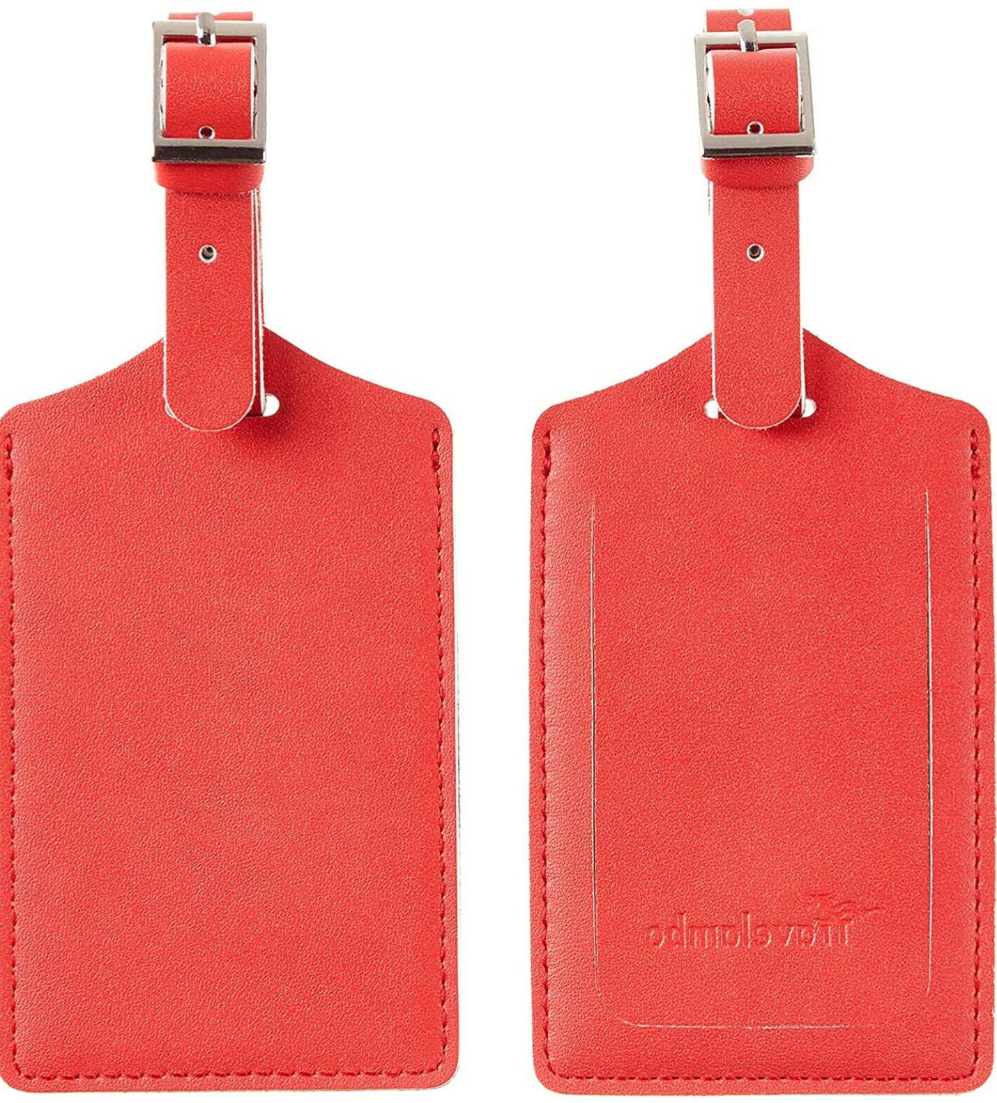 red luggage tags leather privacy protection travel