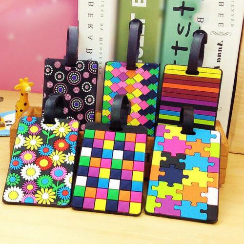 silicone geometric colorful luggage tags travel suitcase