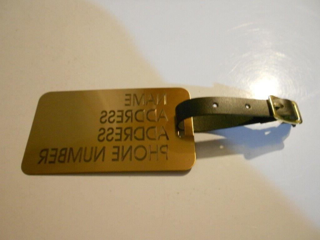 solid brass luggage tag leather strap free
