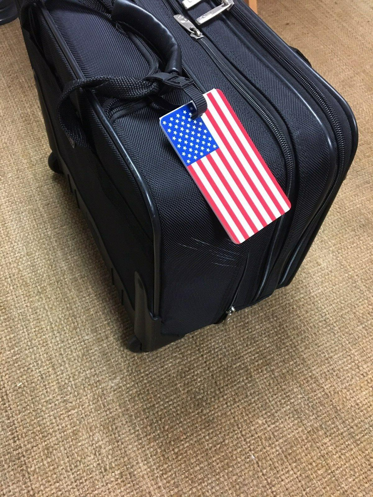 TWO FLAG LUGGAGE TAG with BUS. CARD INSERT