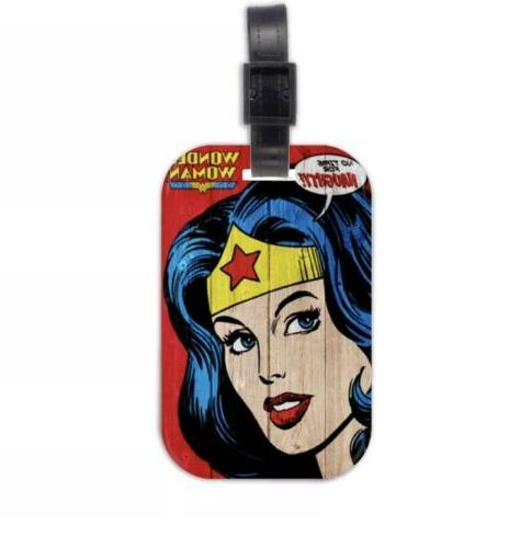 "Wonder Woman Luggage Tag Travel Bag Accessory Wood 4"" US S"