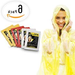 EMERGENCY RAIN PONCHOS- BULK PACK OF 6 FOR ADULTS- Perfect F