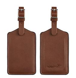 Travelambo Leather Luggage Bag Tags Classic Brown