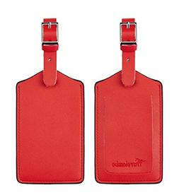 Travelambo Leather Luggage Bag Tags Classic Red