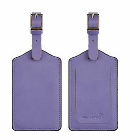 leather luggage bag tags purple 5343 classic