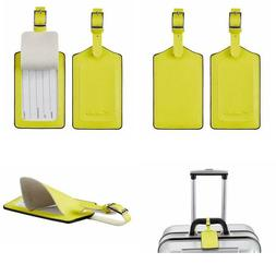 Travelambo Leather Luggage Bag Tags Yellow 3115 Light Yellow