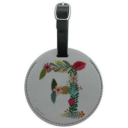 Letter F Floral Monogram Initial Round Leather Luggage Card