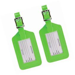 Lewis N. Clark 2-Pack Neon Leather Luggage Tag, Green, One S