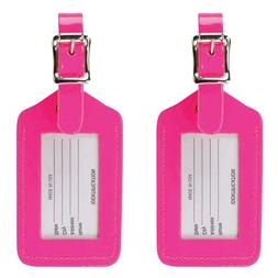 Lewis N. Clark 2-Pack Neon Leather Luggage Tag, Pink, One Si