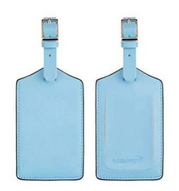 Lot of 2x Travelambo Leather Luggage Bag Tags Light Blue