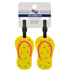 luggage tag 2 pack yellow flip flops